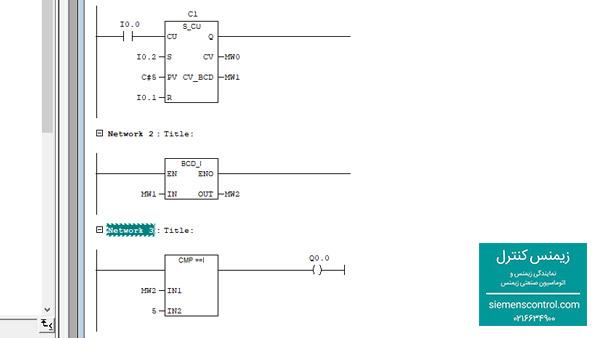نمایندگی زیمنس، طراحی مثال با استفاده از شمارنده CU - 02