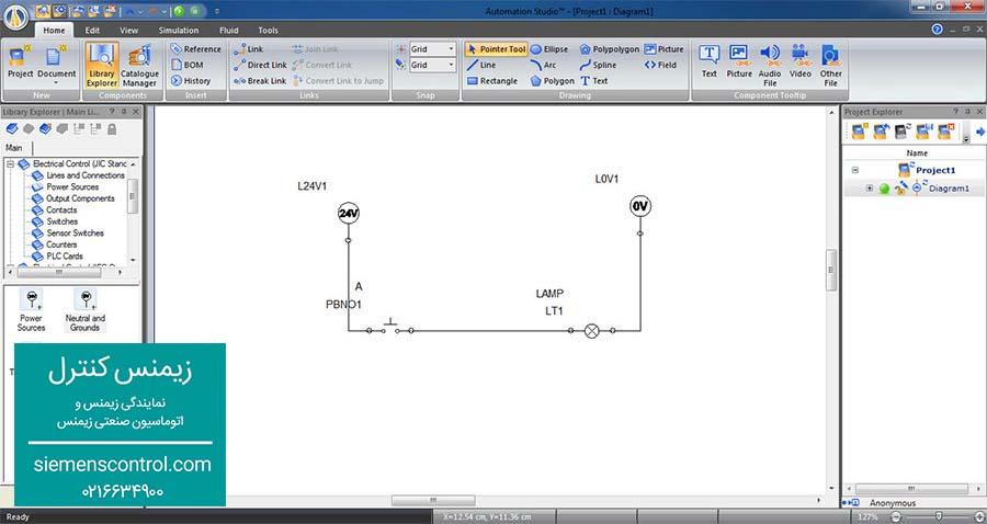 چیدن عناصر و سیم بندی در نرم افزار Automation Studio