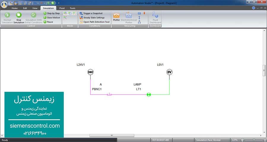 طراحی مدار فرمان NOT در نمایندگی زیمنس کنترل